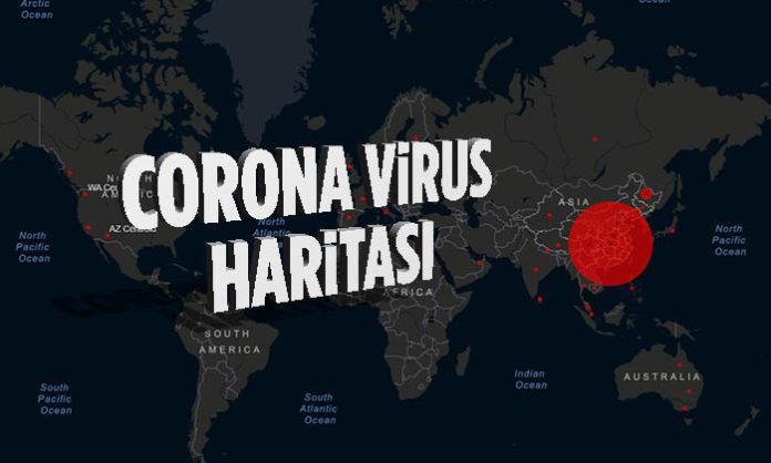 Corona virüsünün gerçek zamanlı haritası yayınlandı